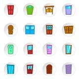 Значки двери, стиль шаржа Стоковое Изображение RF