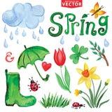 Значки весны акварели Облака, слово, выходят иллюстрация вектора