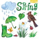 Значки весны акварели Облака, слово, птица, цветки бесплатная иллюстрация