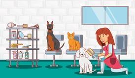 Значки ветеринарного обслуживания установленные иллюстрация штока