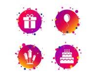 Значки вечеринки по случаю дня рождения Символ торта и подарочной коробки вектор иллюстрация вектора