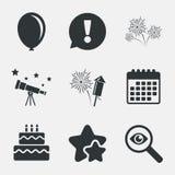 Значки вечеринки по случаю дня рождения Символ торта и подарочной коробки бесплатная иллюстрация