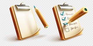 Значки вещей контрольного списока, который нужно сделать на доске сзажимом для бумаги с карандашем иллюстрация штока