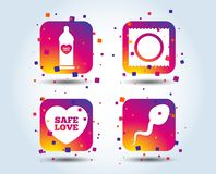 Значки влюбленности безопасного секса Презерватив в символах пакета иллюстрация штока