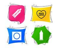 Значки влюбленности безопасного секса Презерватив в символах пакета вектор иллюстрация вектора