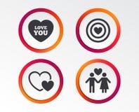 Значки влюбленности дня валентинки Цель цели с сердцем Стоковые Фотографии RF