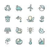Значки возобновляющей энергии Стоковая Фотография