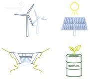 Значки возобновляющих энергий Стоковые Изображения