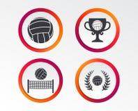Значки волейбола и сети Чашка награды победителя Стоковые Изображения