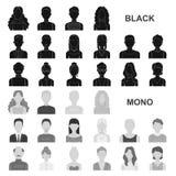 Значки воплощения и стороны черные в собрании комплекта для дизайна Иллюстрация сети запаса символа вектора возникновения персоны бесплатная иллюстрация