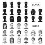 Значки воплощения и стороны черные в собрании комплекта для дизайна Иллюстрация сети запаса символа вектора возникновения персоны иллюстрация штока