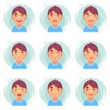 Значки воплощения мальчика смешных эмоций милые установили плоскую иллюстрацию вектора дизайна Стоковое Фото
