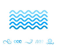 Значки волны моря голубые или символы жидкости воды Стоковая Фотография
