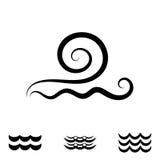 Значки волны черно-белые Стоковое Изображение RF