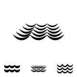 Значки волны черно-белые Стоковые Изображения