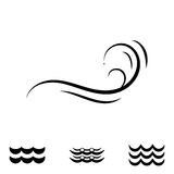 Значки волны черно-белые Стоковое Изображение