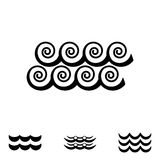 Значки волны черно-белые Стоковые Фото
