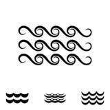 Значки волны черно-белые Стоковые Изображения RF