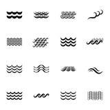 Значки волны черно-белые Стоковое фото RF