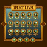Значки выбора уровня steampunk игры Стоковая Фотография