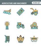 Значки выравнивают установленное наградное качество земледелия и технологии трактора транспорта машинного оборудования Современно бесплатная иллюстрация