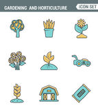 Значки выравнивают установленное наградное качество садовничать и семена садоводства цветут флористическая флора Дизайн современн иллюстрация штока