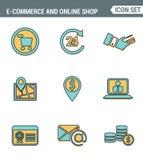 Значки выравнивают установленное наградное качество символа покупок электронной коммерции, онлайн элементов магазина и деталя, пр бесплатная иллюстрация