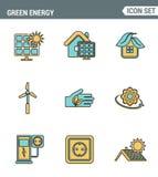 Значки выравнивают установленное наградное качество энергии eco дружелюбной зеленой, чистой силы источников Стиль дизайна совреме иллюстрация вектора