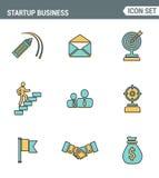 Значки выравнивают установленное наградное качество startup дела и запускают новый продукт на рынке Стиль дизайна современного со бесплатная иллюстрация