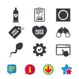 Значки влюбленности безопасного секса Презерватив в символах пакета Стоковое Изображение RF