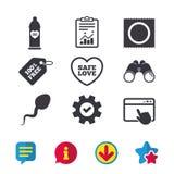 Значки влюбленности безопасного секса Презерватив в символах пакета Стоковая Фотография