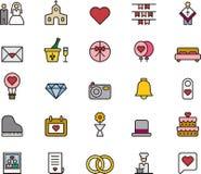 Значки влюбленности и свадьбы Стоковое Изображение