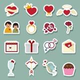 Значки влюбленности дня валентинки Стоковое Изображение