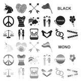 Значки гея и лесбиянка черные в собрании комплекта для дизайна Сексуальные меньшинство и атрибуты vector сеть запаса символа иллюстрация штока