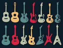 Значки гитары красочные в стиле разнообразия Стоковое Изображение