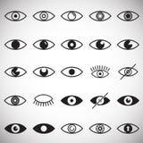 Значки глаза установили на белую предпосылку для графика и веб-дизайна, современного простого знака вектора интернет принципиальн иллюстрация штока