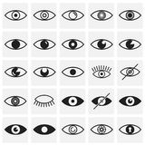 Значки глаза установили на предпосылку квадратов для графика и веб-дизайна, современного простого знака вектора интернет принципи бесплатная иллюстрация