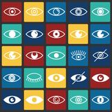 Значки глаза установили на предпосылку квадратов цвета для графика и веб-дизайна, современного простого знака вектора интернет пр бесплатная иллюстрация
