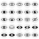 Значки глаза установили на предпосылку кругов для графика и веб-дизайна, современного простого знака вектора интернет принципиаль иллюстрация штока