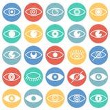 Значки глаза установили на предпосылку кругов цвета для графика и веб-дизайна, современного простого знака вектора интернет принц бесплатная иллюстрация