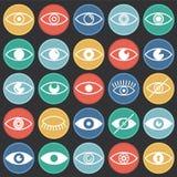 Значки глаза установили на предпосылку кругов цвета черную для графика и веб-дизайна, современного простого знака вектора интерне иллюстрация вектора