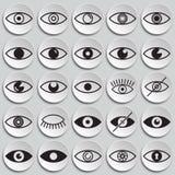 Значки глаза установили на предпосылку плит для графика и веб-дизайна, современного простого знака вектора интернет принципиально иллюстрация штока