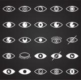 Значки глаза установили на черную предпосылку для графика и веб-дизайна, современного простого знака вектора интернет принципиаль иллюстрация штока