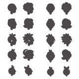 Значки глифа людей возглавляют в различных временах и роде Стоковые Изображения RF