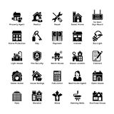 Значки 4 глифа недвижимости иллюстрация штока