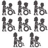 Значки глифа неработающих неподвижных людей в различных временах и роде Стоковая Фотография RF