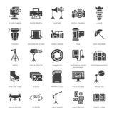 Значки глифа оборудования фотографии плоские Цифровой фотокамера, освещение, видеокамеры, аксессуары, карта памяти вектор Стоковое Фото
