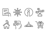 Значки глобуса сообщений, документа и International Сообщения переговора, магазинная тележкаа раздевалки и подписывают бесплатная иллюстрация
