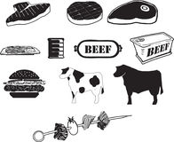Значки говядины B/W Стоковые Изображения RF