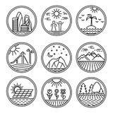 Значки городского и природы сцен Стоковая Фотография RF